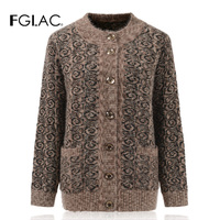 FGLAC Women long sleeve Mohair knitted sweater Fashion casual print autumn winter Cardigans women coats for Middle aged