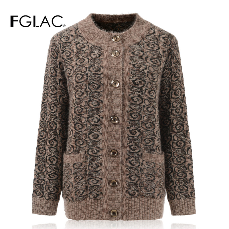 FGLAC Women Long Sleeve Mohair Knitted Sweater Fashion Casual Print Autumn Winter Cardigans Women Coats For Middle-aged