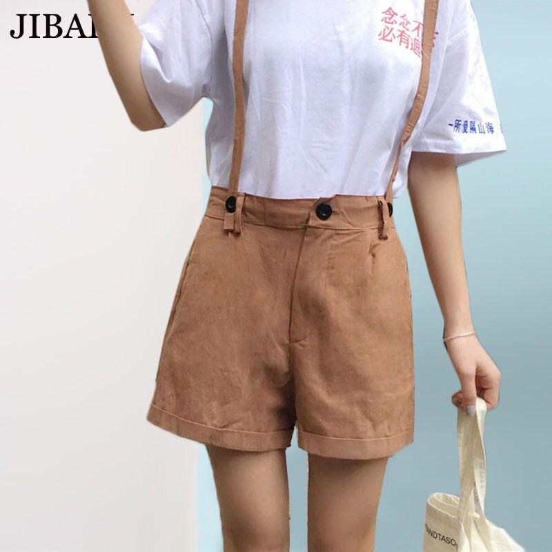 Милый комбинезон Шорты женский студенческий стиль хаки брюки на подтяжках лето ШИК с эластичной талией свободные Шорты женщин kawaii короткие... ...