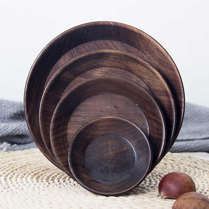 Black Walnut Wooden Bread Fruit Dishes Saucer Tea Tray Pan Plate Dessert Dinner Wood Plates
