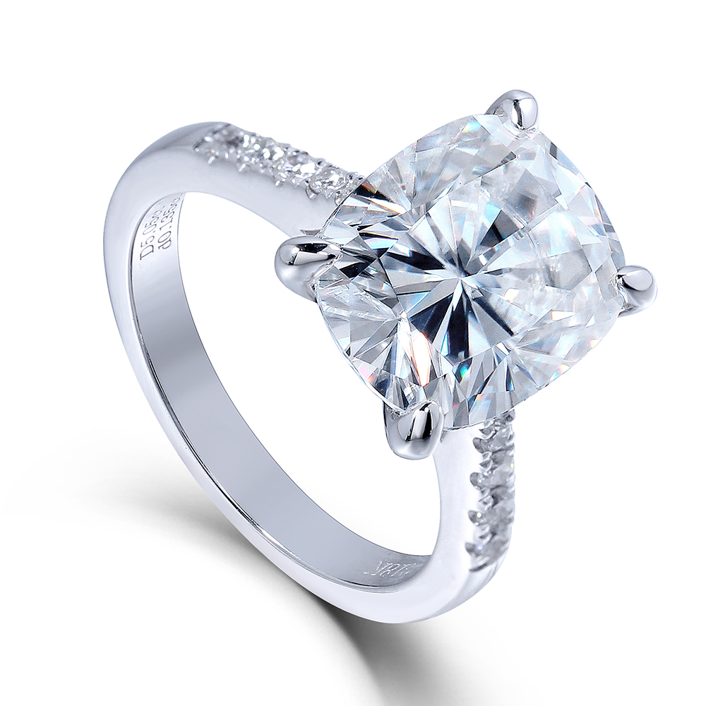 Moissanite Engagement Ring 5 CTW DEF Moissanite Cushion Cut Diamond Wedding Band with Lab Diamond Accent 14K 585 White Gold