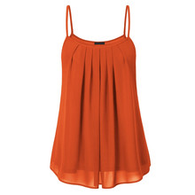 Summer Sleeveless Layered Solid Tee Women Tanks Chiffon Tunic Spaghetti Strap Vest Plus Size Army Green Orange Female Cami Tops