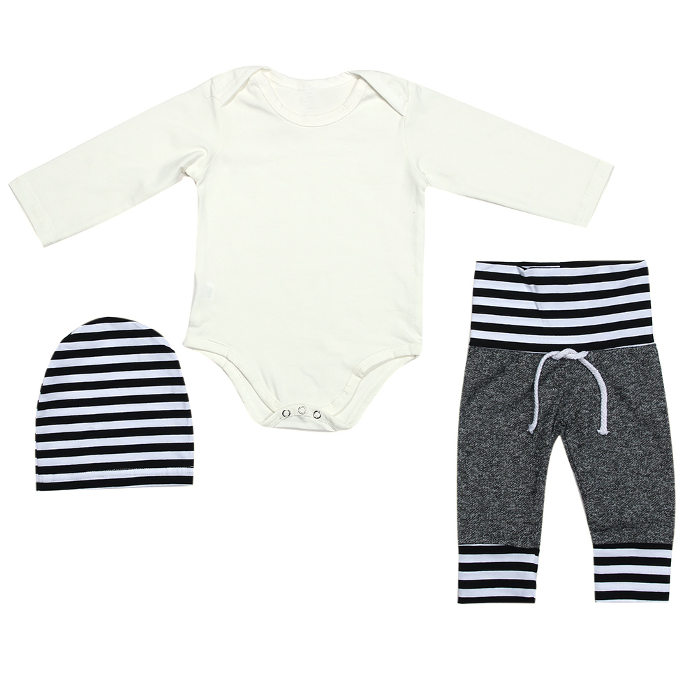 For 0-24M Fashion 2pcs Baby Boys Girls Clothing Cotton Stripe Tops+Long Pants O-Neck Baby Girls Boys Clothes Set
