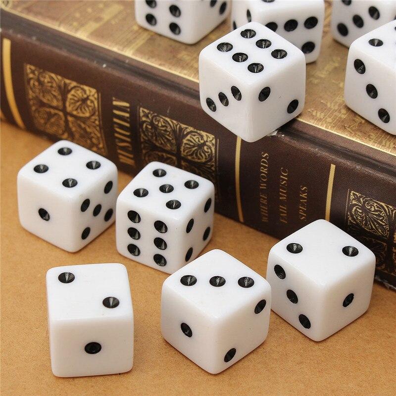 Новое поступление 10 шт./компл. белый 16 мм игровой Игральная кость Стандартный шесть Двусторонняя решающей RPG Развлечения вечеринки с друзья...