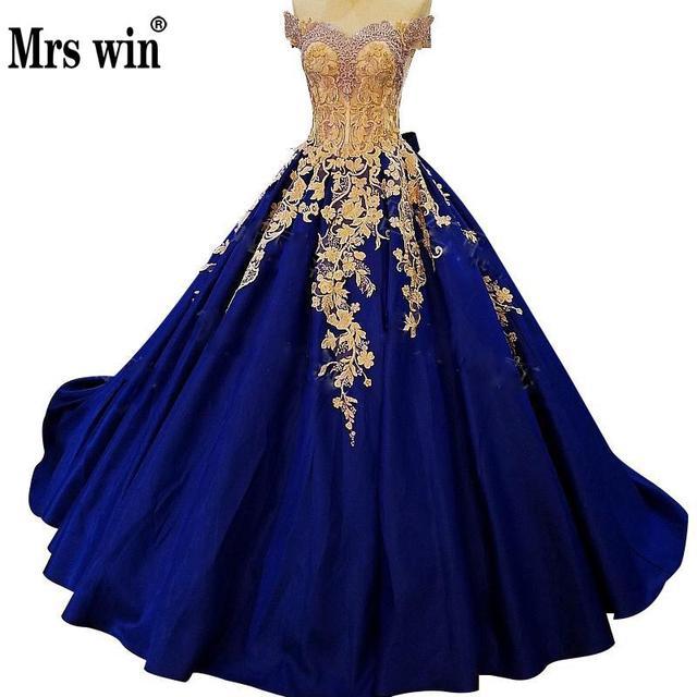 2018 Hot Sale Blue Red Satin Sexy Evening Dress Embroidery Crystal  Sleeveless Bridal Ball Gown Dress 2018 Vestido De Noiva f6a139fd7e9d