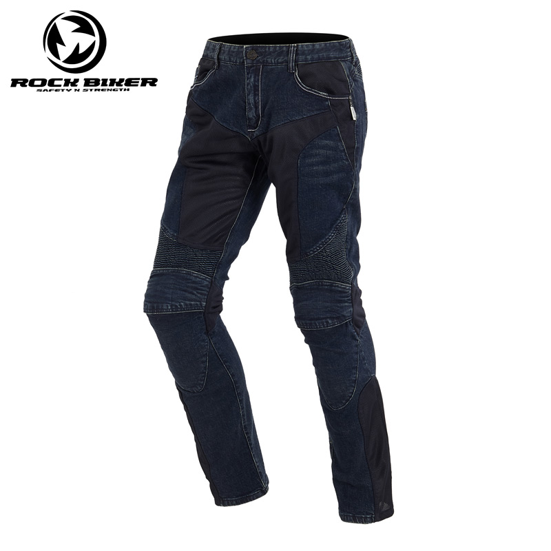 Motorcycle Pants Men Windproof Racing Jeans Protective Riding Trousers Breathable Pants Straight Trouser Knee Protector Guards