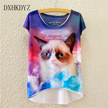 2017 summer new European and American wind color umbrella printed short before the long loose women's short sleeve T-shirt women