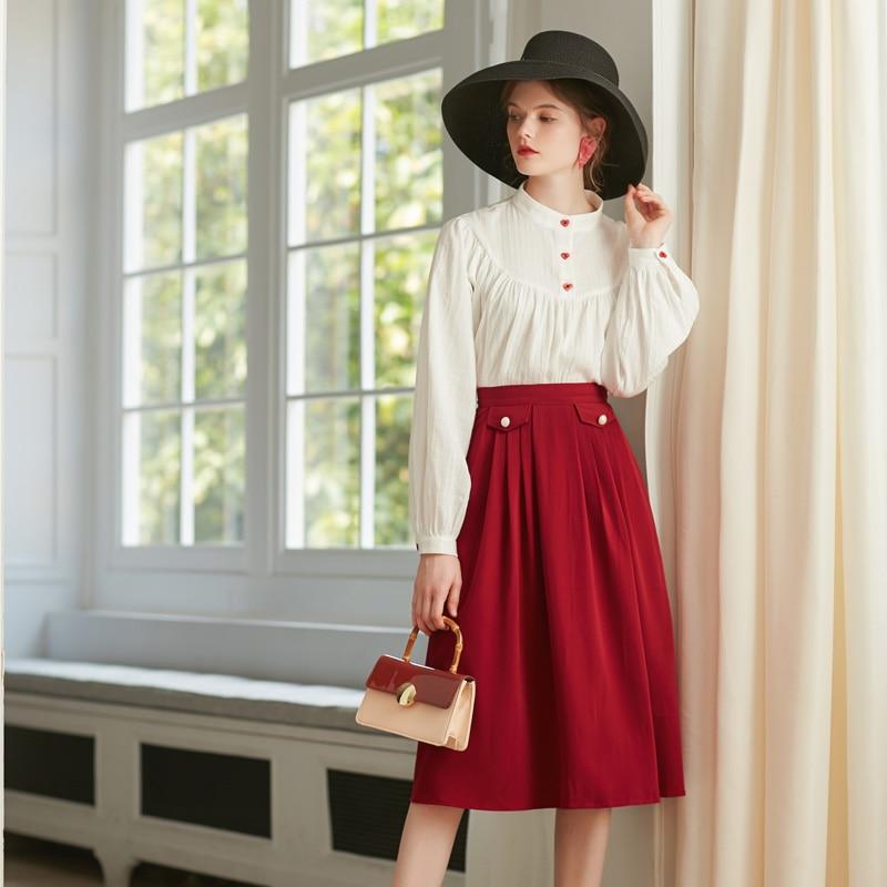 Jupe Vintage Jupes Noir Haute Avec Style 2018 rose Long Noir Doublure Automne Rouge Dames Red 8359 Nouveau Femmes Taille wn7gFn
