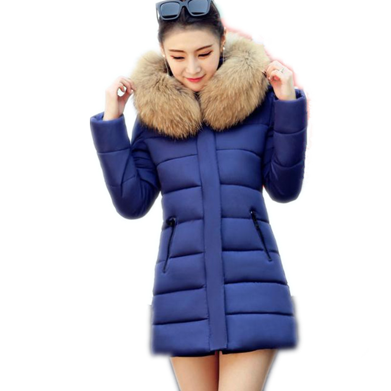 2017 New Winter &Autumn Women Down Cotton Jacket Parka Female Hooded Fur Collar Medium-Long Size M-3XL Slim Outerwear ParkaCQ439