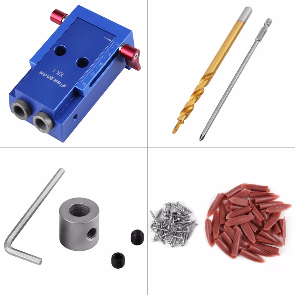 Woodworking Drill Guide Hole Drilling Jig Kit Woodworking Oblique Drill Guide Set Positioner Locator Tool woodworking tool pocket hole jig woodwork guide repair carpenter kit system with toggle clamp and step drilling bit k527