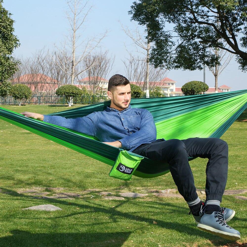 Hamak 2 Pessoa hamaca duplo Rede ao ar livre Portátil Parachute Pano rede Jardim suspenso cadeira de dormir viagens balanço hamac