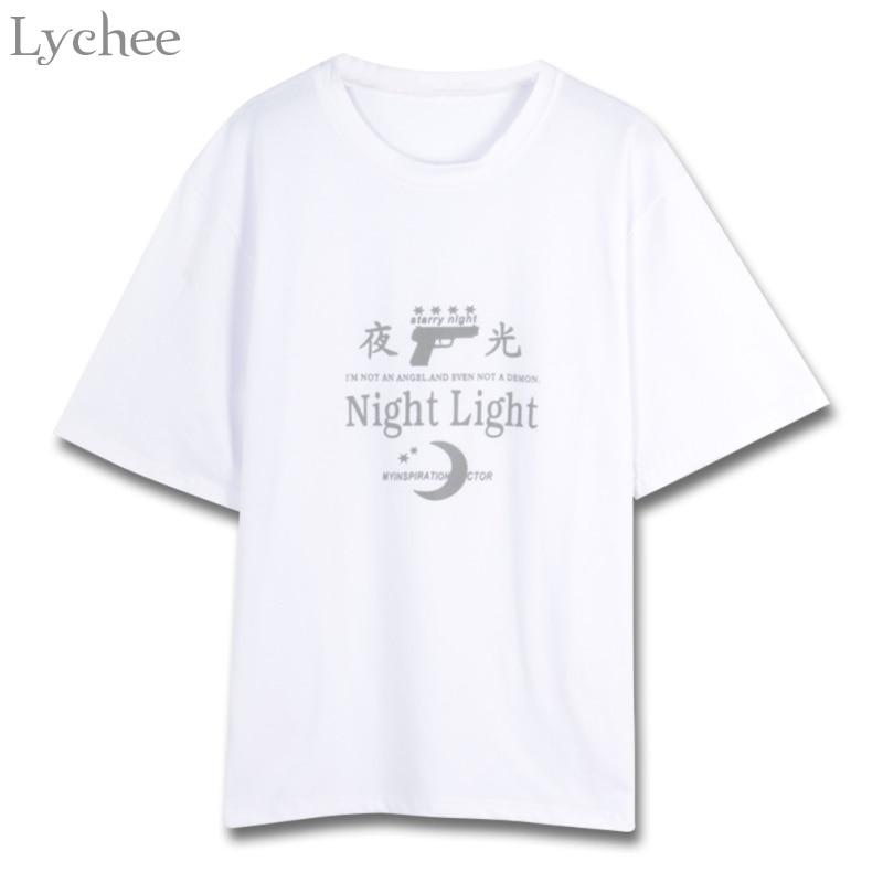 Lychee Harajuku Punk Summer Women T Shirt Gun Moon Letter