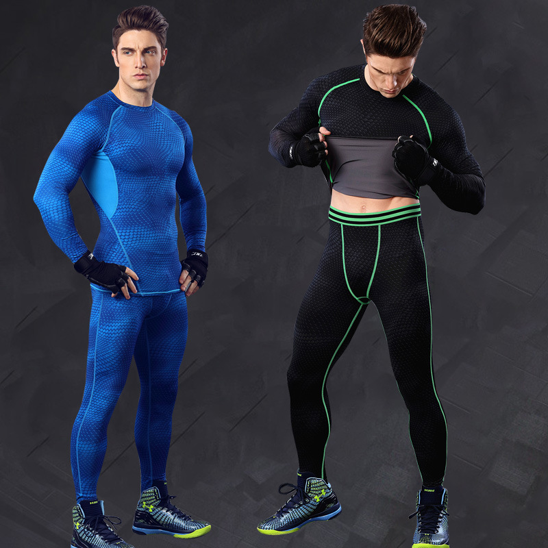 Quick Dry Gym Clothing Set Fitness Men Long Sleeve Compression T shirt & Pants Suit Men Bodybuilding Gym running Sportswear