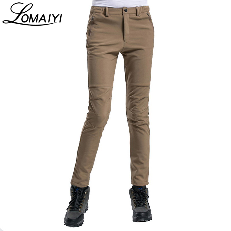 LOMAIYI Women's Casual Winter Pants Women Thick Warm Softshell Trousers With Fleece Lining Snow Ladies Khaki Black Pants,AW087