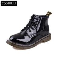 COOTELILI Plus Taille Botas En Cuir Verni Bottes Femmes École Style Lacent Chaussures Pour Filles Rouge Noir Moto Cheville BootsM 40