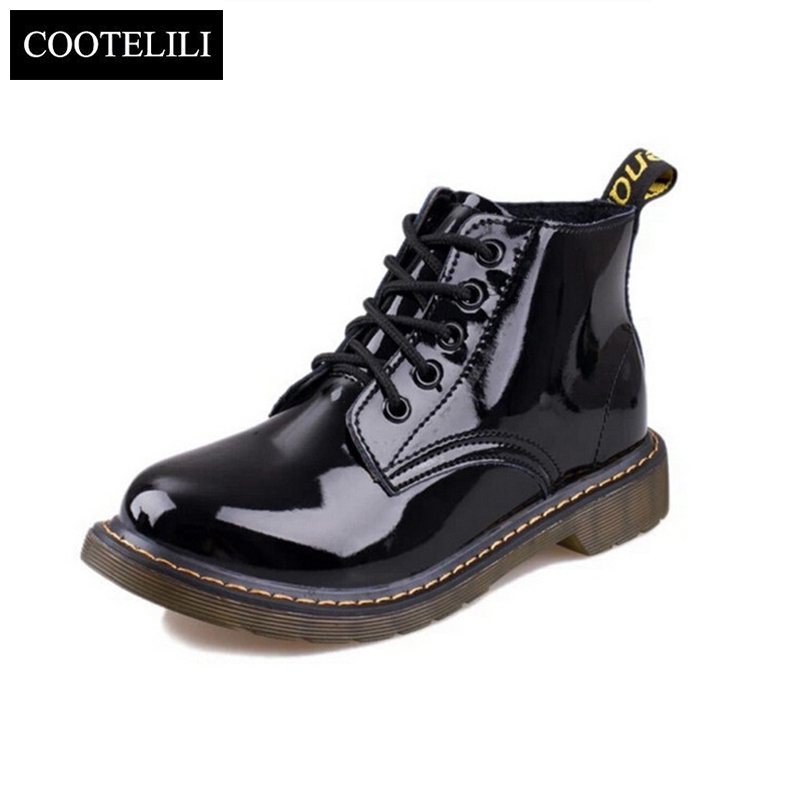 Plus Size40 Cow Muscle Heel Pig Patent Leather Boots Women School Style Lace Up Shoes For Girls Red Black Motorcycle Ankle Boots