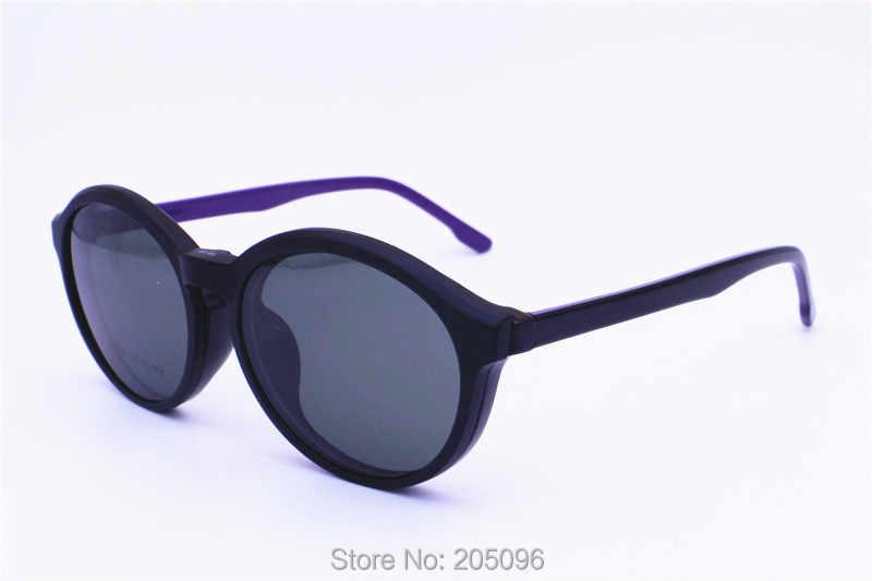 861ae0f2bdc0 ... 1619 oval shape acetate combined TR90 prescription glasses with  megnatic clip on removable polarized sunglasses lenses ...