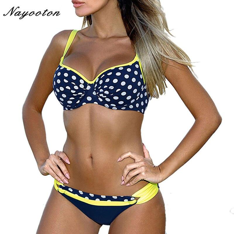 Bikini set mujer 2018 Empuje hacia arriba Nuevo traje de baño Circle Dot fold Halter Top Traje de baño Sexy traje de baño de natación femenino D0185