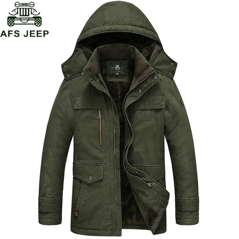 Afs Jeep 2017 Brand New Winter Coat male Parka Men Thick Warm Wool Liner Hooded Collar Plus Size M-5XL Winter Jacket Men free shipping winter parkas men jacket new 2017 thick warm loose brand original male plus size m 5xl coats 80hfx