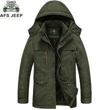 AFS JEEP 2017 Фирменная Новинка зимнее пальто мужской парка Для мужчин Толстая теплая шерсть лайнер с капюшоном воротник плюс Размеры M-5XL зимняя куртка Для мужчин