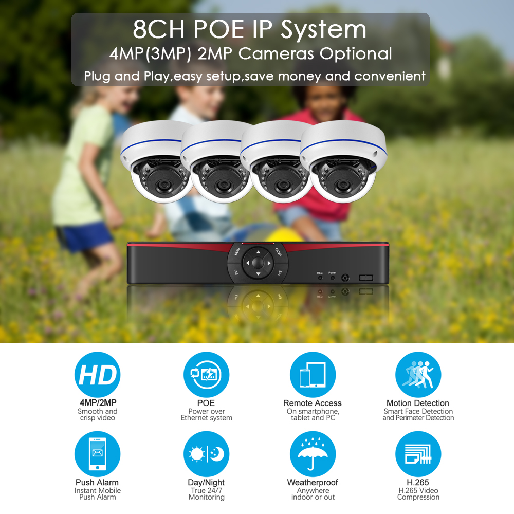 Image 2 - Gadinan 4CH 5MP POE NVR Kit Security Camera System 5MP 4MP 2MP IR Outdoor CCTV Dome Audio POE IP Camera Video Surveillance Set-in Surveillance System from Security & Protection