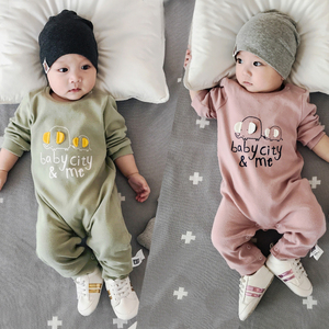 Lemonmiyu Cotton Toddler Pajamas Elephant Baby Rompers Long Sleeve Newborn Outfits Covered Button Infants One-piece Sleeper