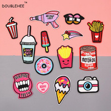 DOUBLEHEE Summer Classic Personality Food Patches Embroidered Iron On Patch For Clothing Sticker Badge Clothes Bag Pants