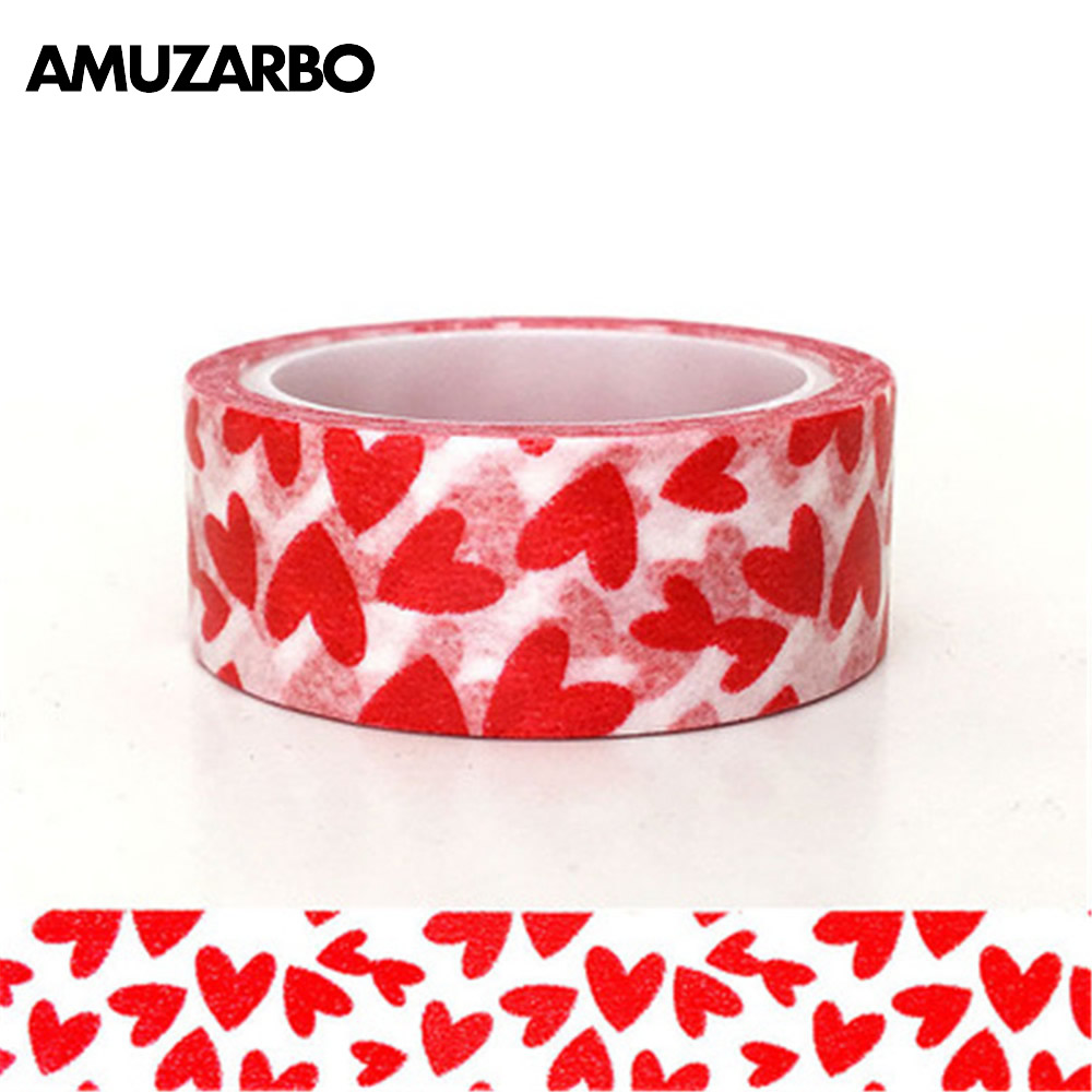 1 Rolls Red Love Pattern Tape DIY Decorative Tearable Writable Adhesive Tape Paper Craft Tape For Day Journals Scrapbooking