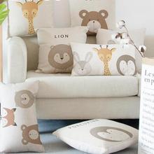 Милые очаровательные подушки с кроликом, медведем дикобраз, жирафом, лисой, львом, мультяшными животными, декоративные подушки для домашней кровати