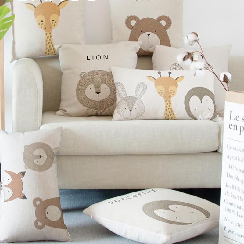 Cute Kawaii Adorable Rabbit Cushion Pet Bear Porcupine Giraffe Fox Lion Cartoon Animal Decorative Throw Pillows For Home Bed