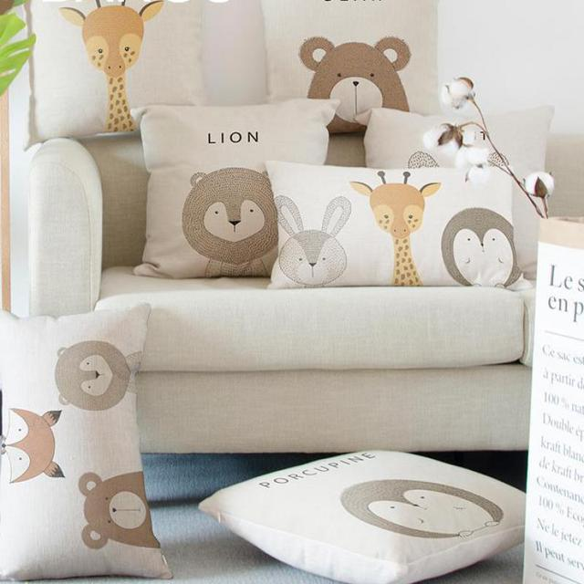 Wild Animals Decorative Pillow Covers For Kids