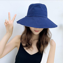 Hat ladies summer new cloth cap foldable double-sided fisherman hat Korean version of the solid color sun suntan female
