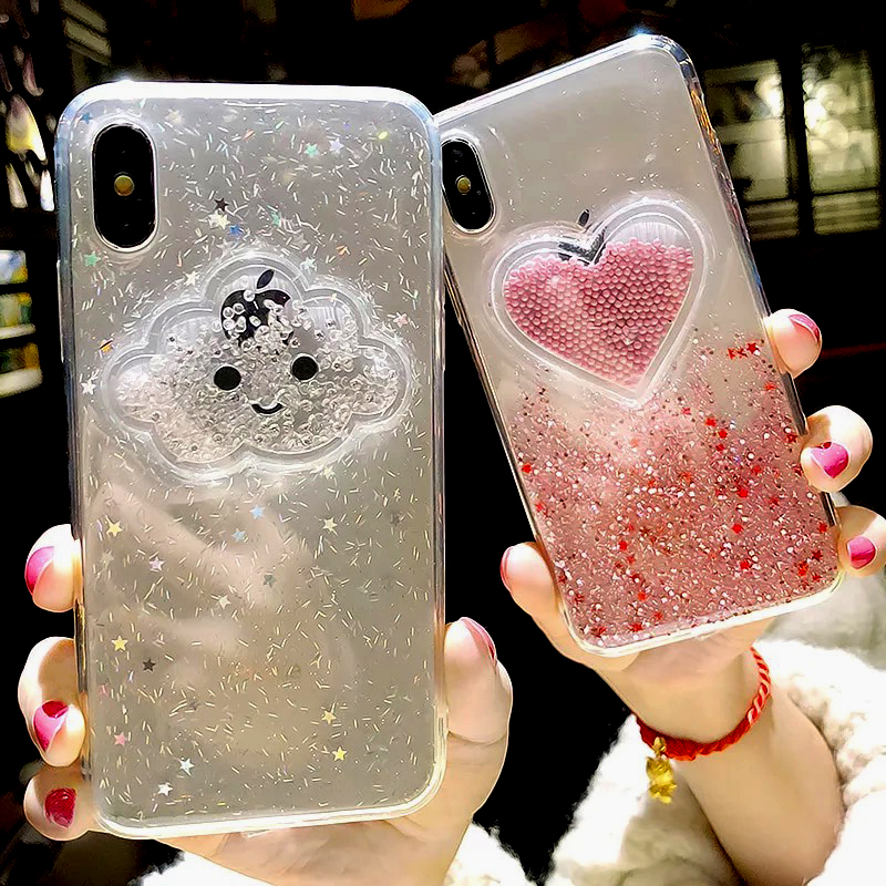 Liquid Heart Glitter Powder Smile Face Clouds Case For iPhone 6 S 6s 7 8 Plus X XR XS Max Ice Cream TPU Dynamic Beads Back Cover (7)