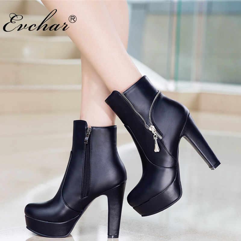 8369ffb63 Подробнее Обратная связь Вопросы о EVCHAR/Новые пикантные женские ботинки,  модные женские ботильоны на платформе и очень высоком квадратном каблуке,  ...