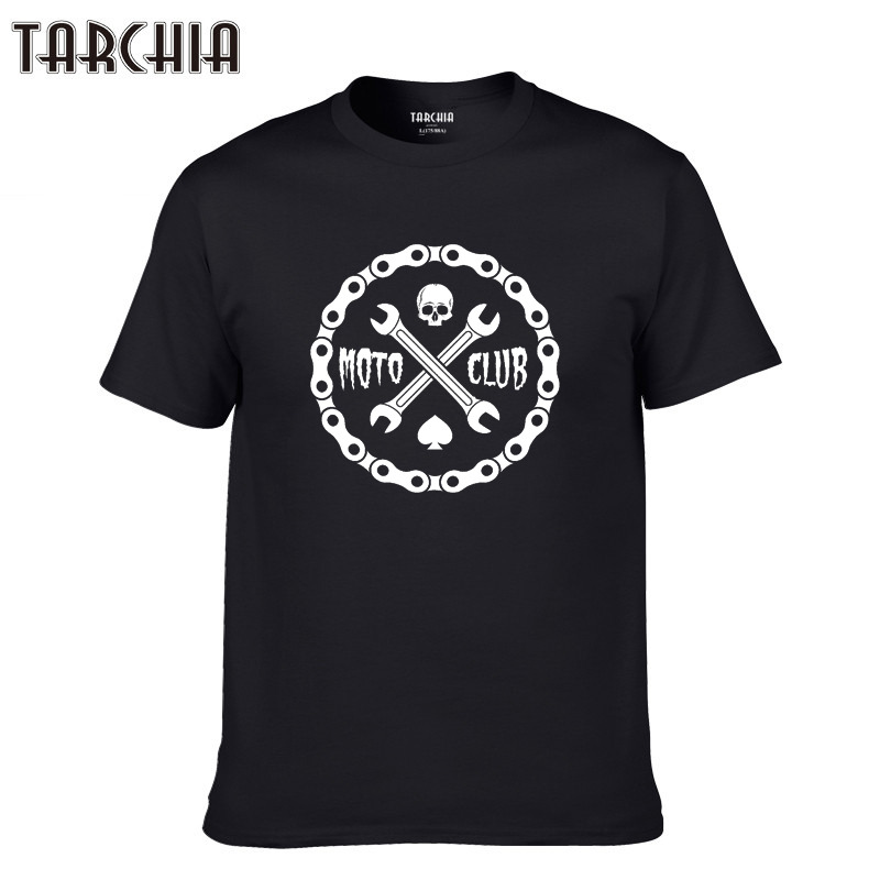 TARCHIA 2019 Top Spring Print Men Tees Tops Casual T Shirt Men Cotton Slim Fit T shirt Homme fashion sleeve boy male moto club