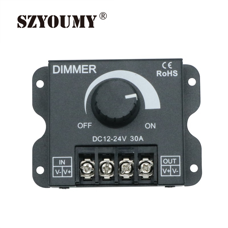 SZYOUMY 30A LED Dimmer DC 12V 24V 360W Adjustable Brightness Lamp Bulb Strip Driver Single Color