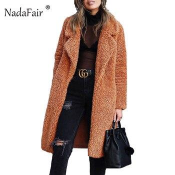 Nadafair женщин ягненка из искусственного меха длинная куртка пальто Открыть стежка женские зимние толстые теплые твердые Тедди пальто флис мя...