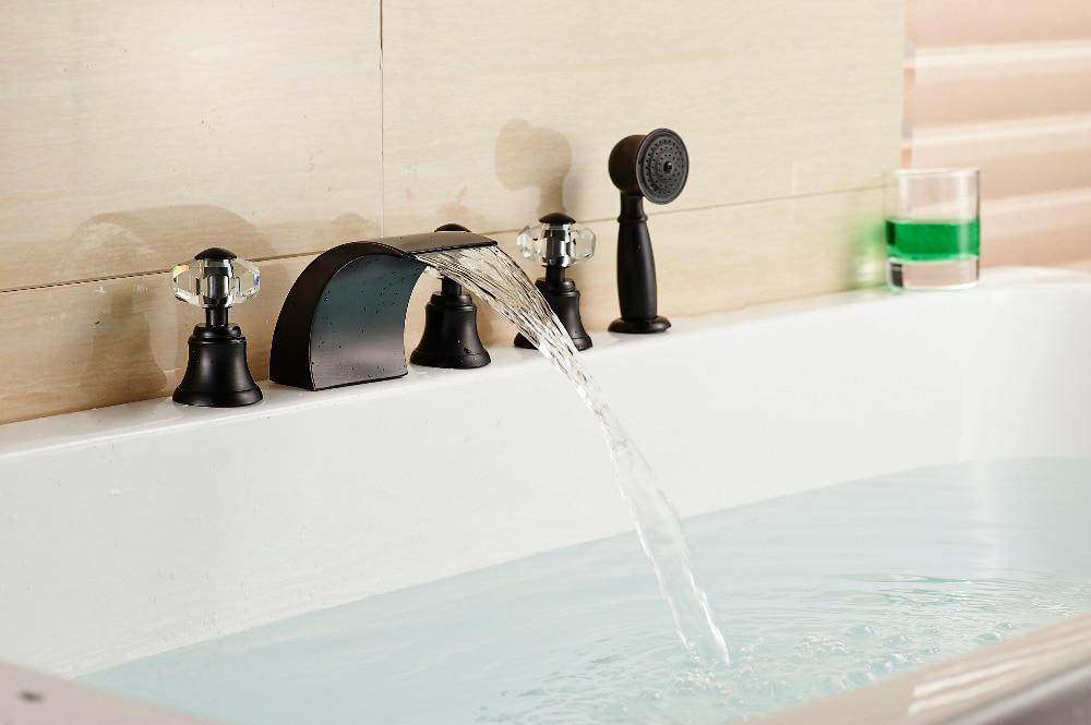 Modern Bathroom Oil Rubbed Bronze Shower Faucet Bathtub Mixer 3 Crystal Handles