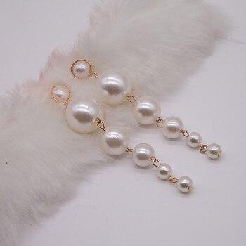 Trendy Elegant Big String Simulated Pearl Long Earrings 1