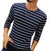 New Fashion Men S Striped T Shirt Casual Slim Fit Long Sleeve T Shirt Men Cotton