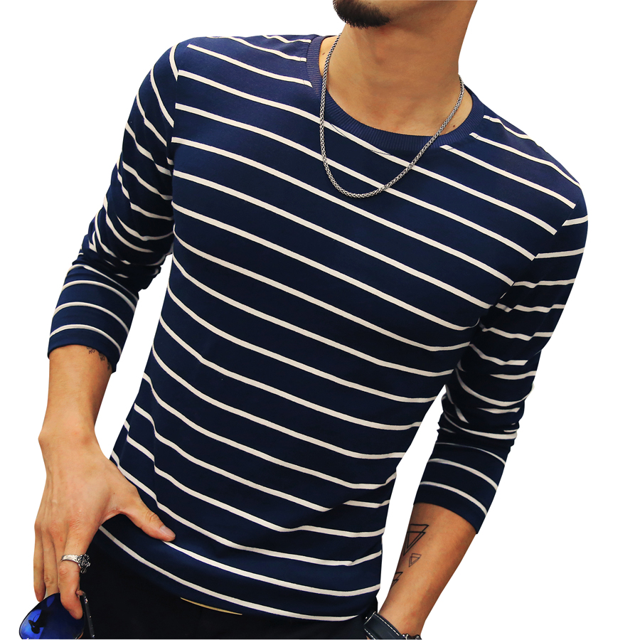 New fashion men 39 s striped t shirt casual slim fit long for Long sleeve fitted tee shirt