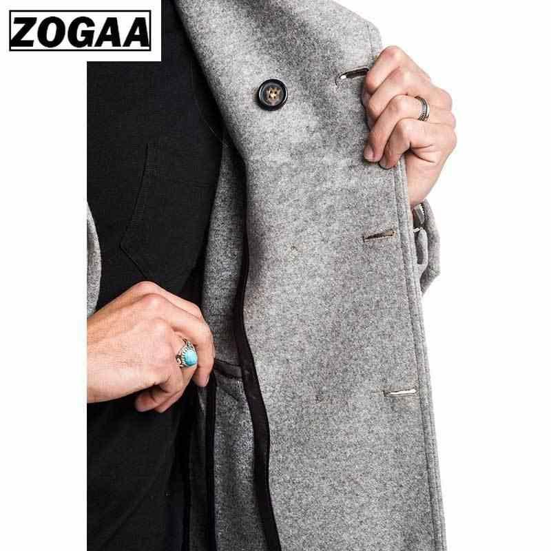ZOGAA/модный мужской Тренч, куртка, весна-осень, мужские пальто, повседневные однотонные, шерстяной Тренч для мужчин, одежда 2019