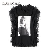 TWOTWINSTYLE Ruffles Print T Shirt For Women Stand Collar Sleeveless Big Size Summer T Shirts 2018