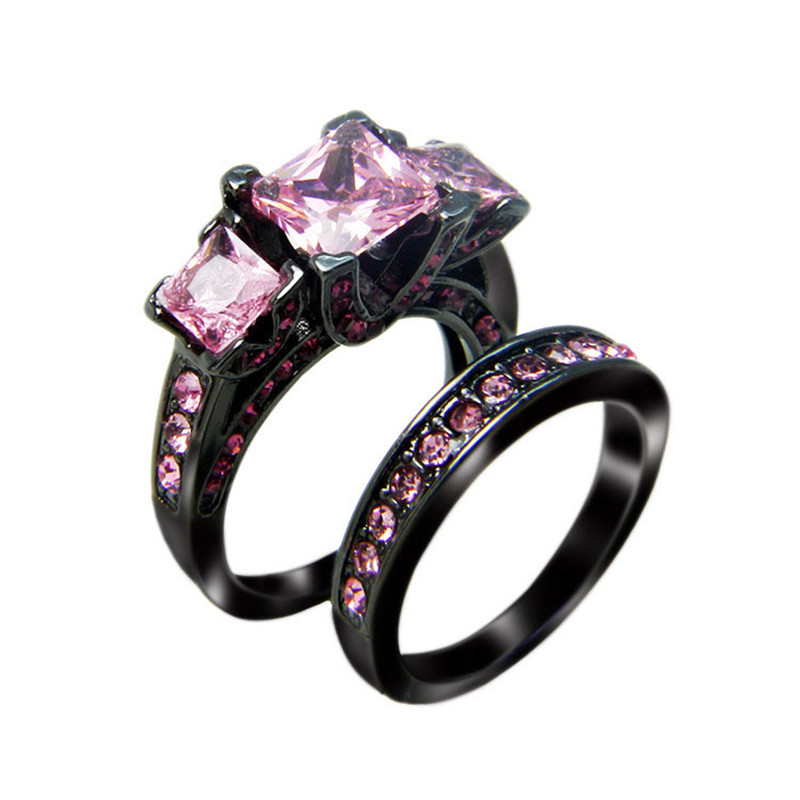 rn3111 victoria wieck princess cut black gold filled engagement wedding ring black women rings pink - Pink And Black Wedding Ring Set