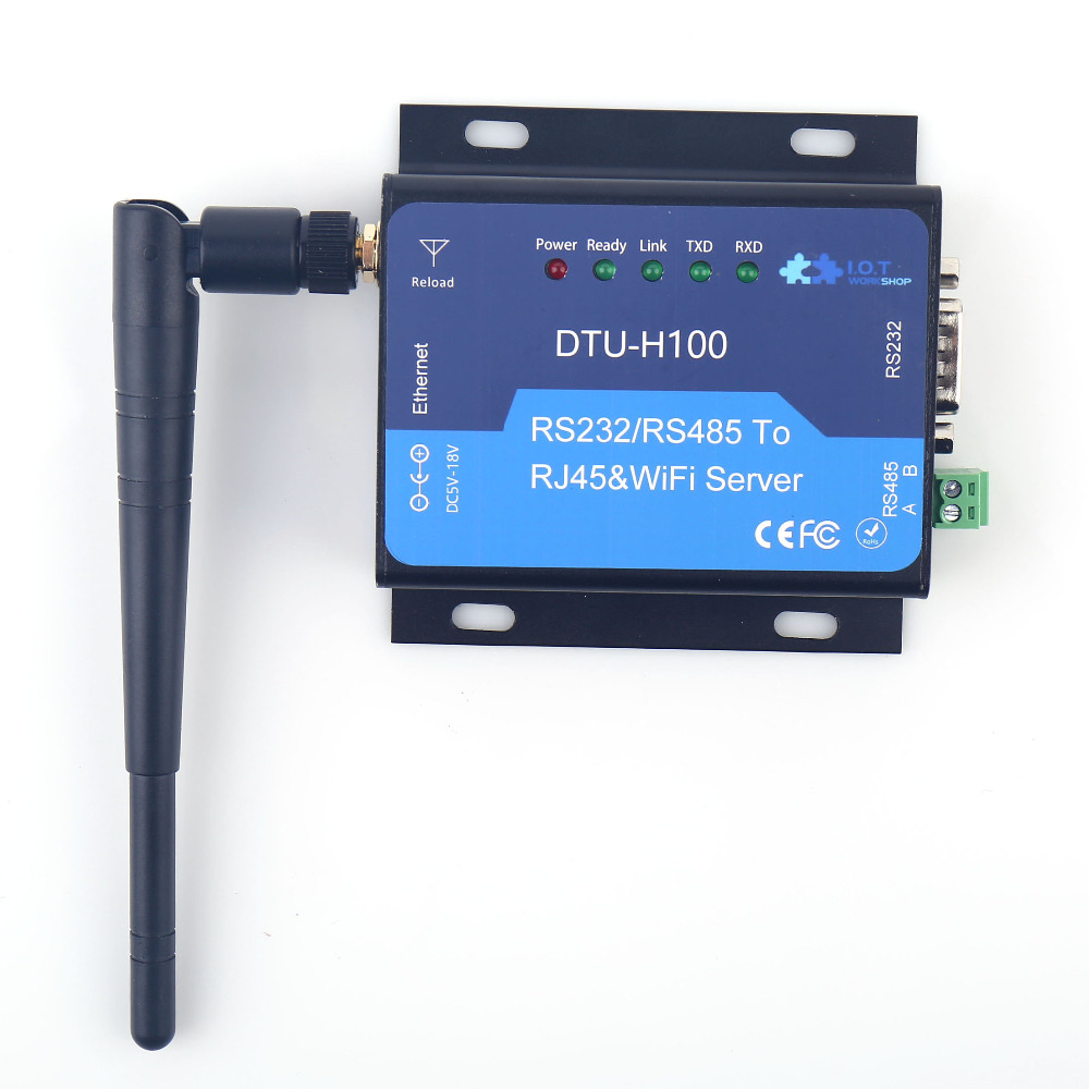 DTU H100 Serial Server Industrial CE FCC RoHs WIFI UART RS232 RS485 to RJ45 Converter Ethernet Interface STA Free Shipping parts 5pcs lot wifi232 rj45 ethernet port serial port wifi to uart usb to uart wifi module antenna