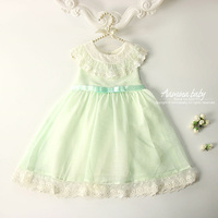 2351821 Mint Color Lace Collar Chiffon Princess Party Tutu Kid Dresses For Baby Girls Summer Children Clothing wholesale Clothes