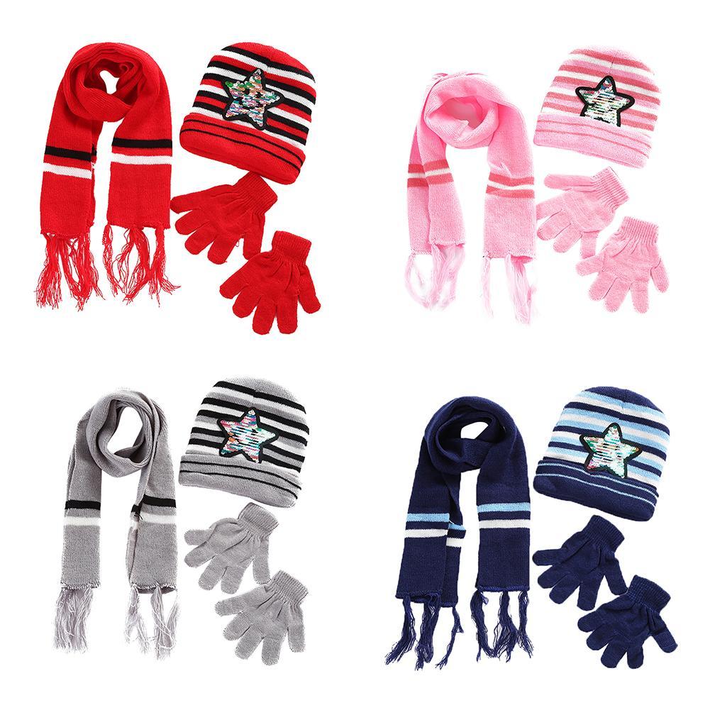 Baby Kids Unisex Warm Autumn Winter Paillette Star Beanie Cap Scarf Gloves Set
