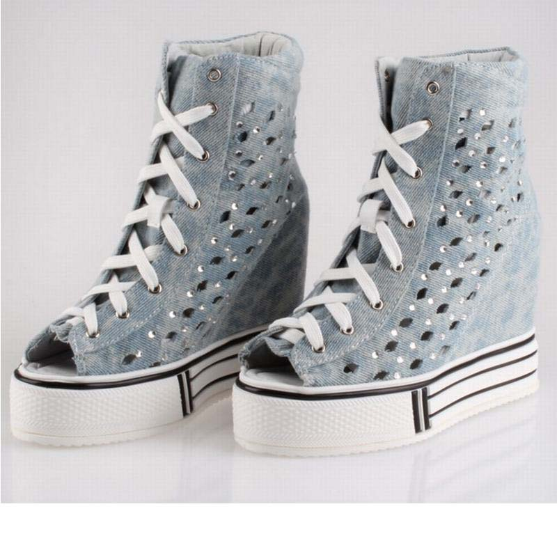 super breathable women high top lace up canvas rhinestone summer boots fashion platform elevator cut-out denim wedge casual shoe