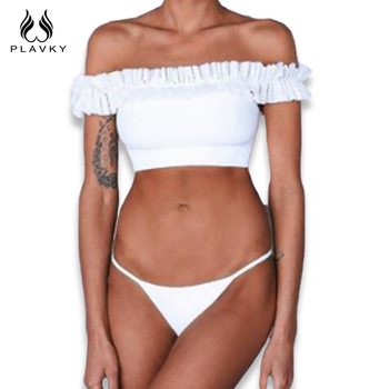 PLAVKY 2018 Sexy White Ruffled Off Shoulder Bandeau Biquini Thong Swim Wear Bathing Suit High Cut Swimsuit Swimwear Women Bikini