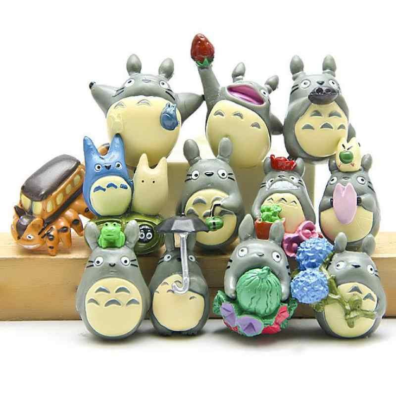12pcs/set Totoro Miniature Figurines Toy Kawaii Doll Japanese Animal Pvc Figure Ornaments Kids Gift fairy garden miniatures